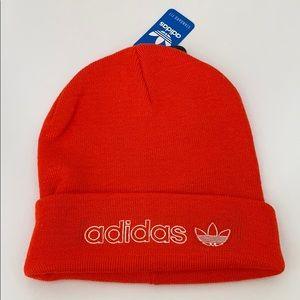 Adidas trefoil rare red & white beanie hat NWT!
